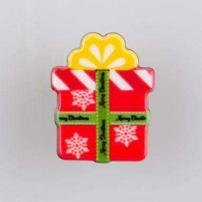 Prezent Świąteczny, znaczek na pin/ szpilkę, akryl, kolorowy nadruk