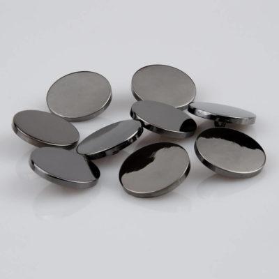 Guzik płaski metalowy błyszczący srebrny oksydowany, śr. 25 mm