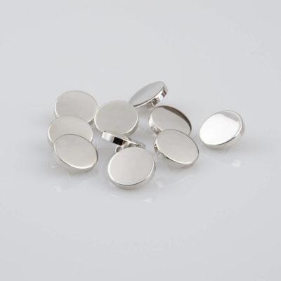 Guzik płaski metalowy błyszczący srebrny, śr. 15 mm