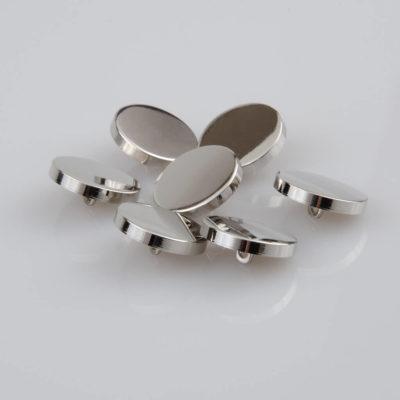Guzik płaski metalowy błyszczący srebrny, śr. 20 mm