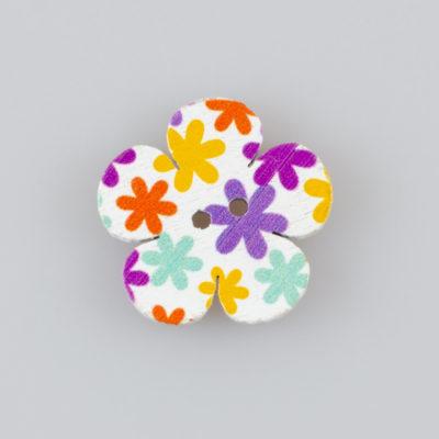 Guzik drewniany kwiatek 2 dziurki 6 wzorów MIX