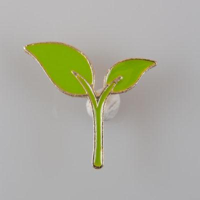 Roślinka Eko (Zero Waste) znaczek pin, metal kolor złoty/ jasno zielona emalia, roz. 26 x 25 mm