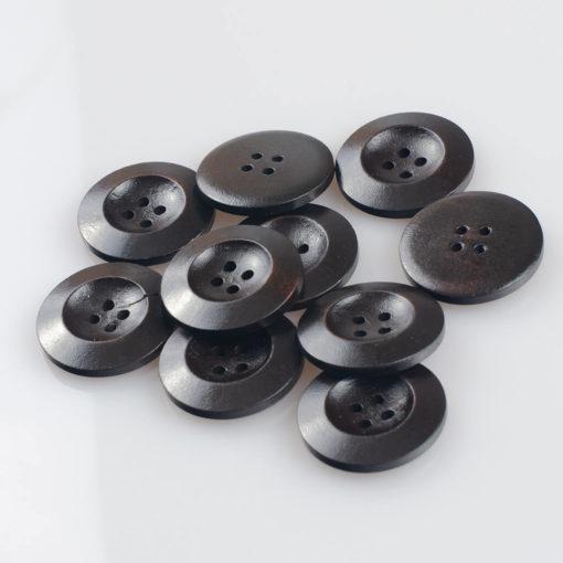 Guzik drewniany z płaskim rantem 5.8 mm, 4 dziurki, śr. 25 mm, kolor gorzka czekolada