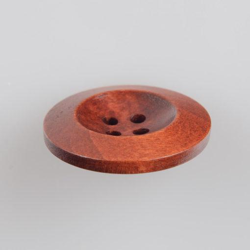 Guzik drewniany z płaskim rantem 5.8 mm, 4 dziurki, śr. 25 mm, kolor mahoń