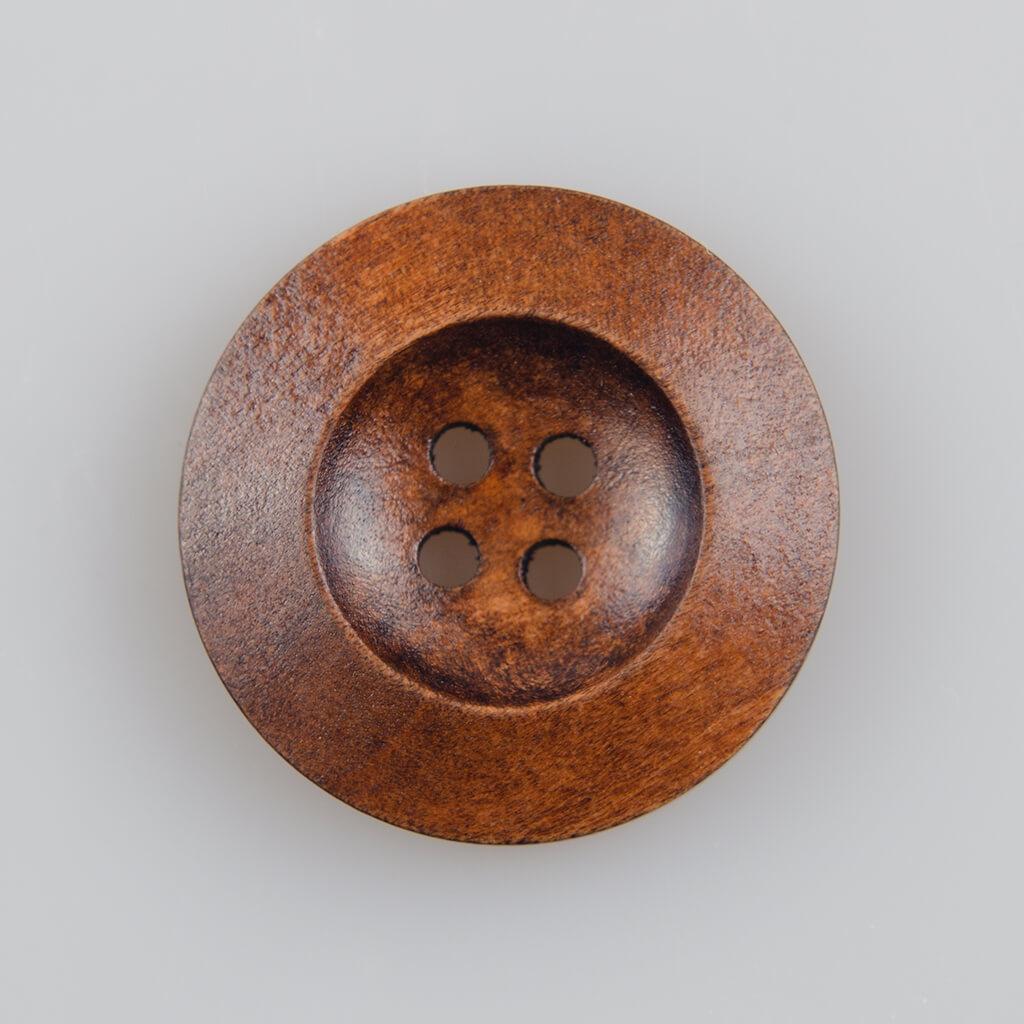 Guzik drewniany z płaskim rantem 5.8 mm, 4 dziurki, śr. 25 mm, kolor orzech