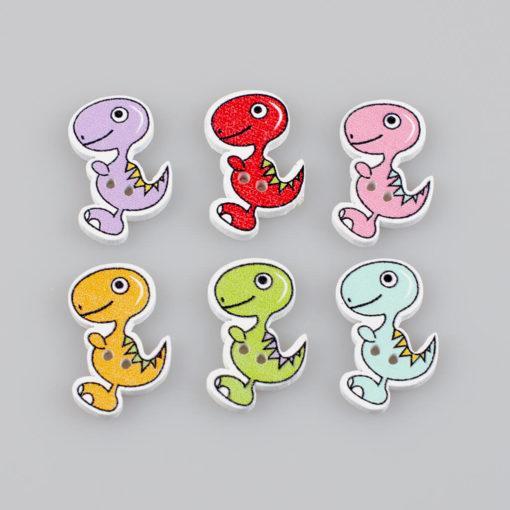 Guzik drewniany Mały Dinozaur, rozmiar 25x18mm, 2 dziurki, 6 kolorów MIX