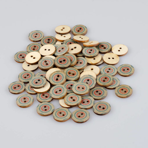 Guzik drewniany Mandala Indie Buddyzm, 2 dziurki, śr. 20mm (Wzór nr 2)