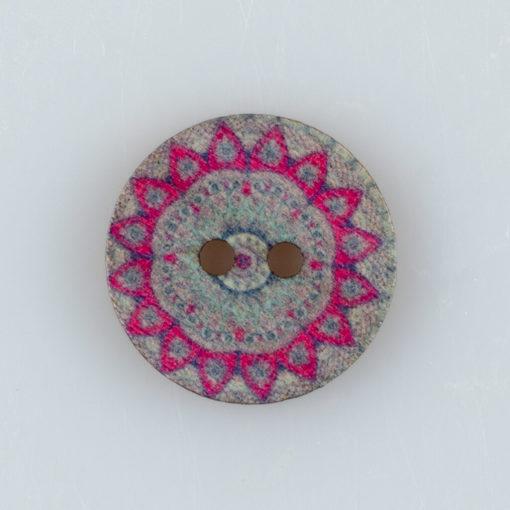 Guzik drewniany Mandala Indie Buddyzm, 2 dziurki, śr. 20mm (Wzór nr 3)