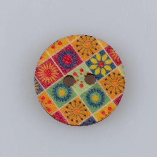 Guzik drewniany Mandala Indie Buddyzm, 2 dziurki, śr. 20mm (Wzór nr 4)