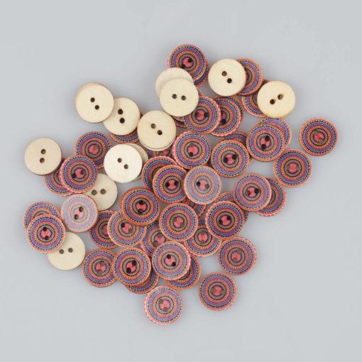 Guzik drewniany Mandala Indie Buddyzm, 2 dziurki, śr. 20mm (Wzór nr 5)