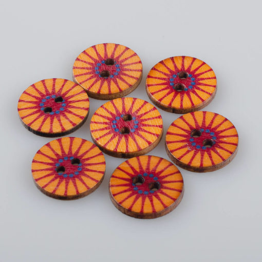 Guzik drewniany Mandala Indie Buddyzm, 2 dziurki, śr. 20mm (Wzór nr 6)