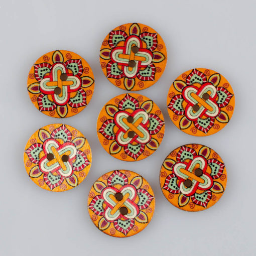 Guzik drewniany Mandala Indie, 2 dziurki, śr. 25mm (Wzór nr 2)
