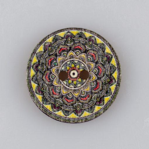 Guzik drewniany Mandala Indie Buddyzm, 2 dziurki, śr. 25mm (Wzór nr 3)