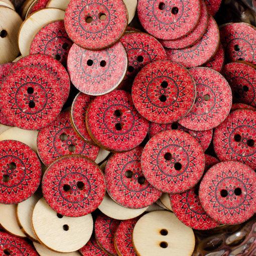 Guzik drewniany Mandala Indie Buddyzm, 2 dziurki, śr. 25mm (Wzór nr 5)