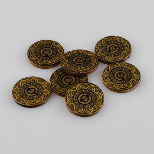 Guzik drewniany Mandala Indie Buddyzm, 2 dziurki, śr. 25mm (Wzór nr 6)