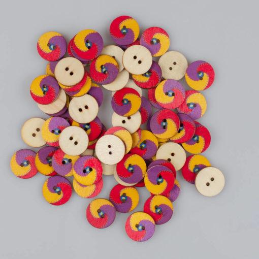 Guzik drewniany Mandala Indie Buddyzm, 2 dziurki, śr. 25mm (Wzór nr 7)