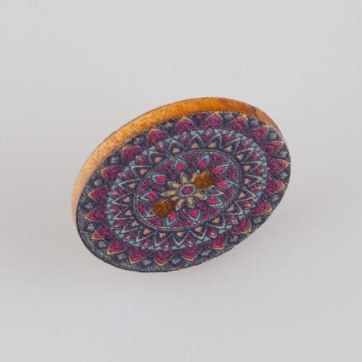 Guzik drewniany Mandala Indie Buddyzm, 2 dziurki, śr. 25mm (Wzór nr 8)