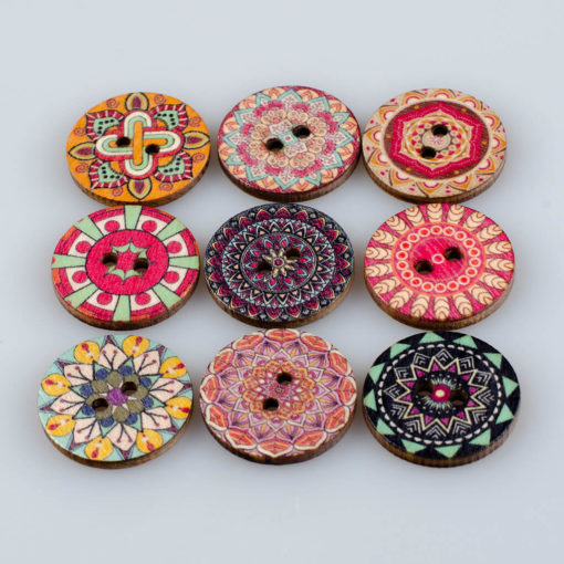 Guzik drewniany Mandala Indie Buddyzm, 2 dziurki różne wzory MIX, śr. 25mm (Wzór nr 11)
