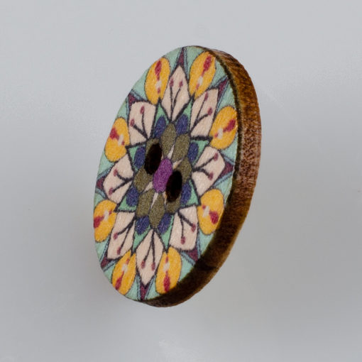 Guzik drewniany Mandala Indie Buddyzm, 2 dziurki, śr. 25mm (Wzór nr 9)