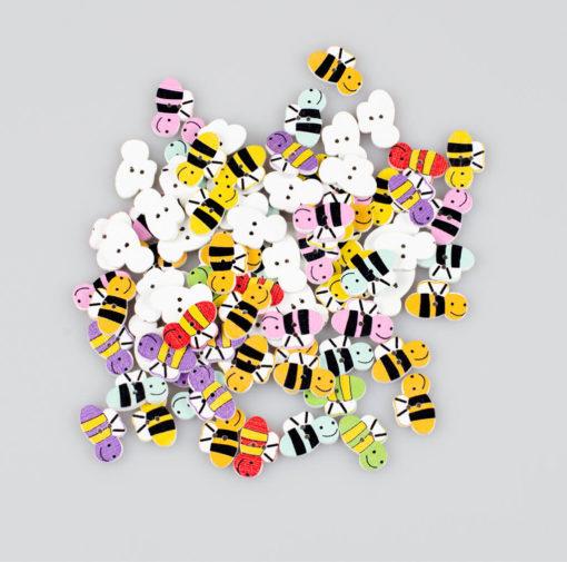 Guzik drewniany Pszczółka, rozmiar 20x13mm, 2 dziurki, 7 kolorów MIX