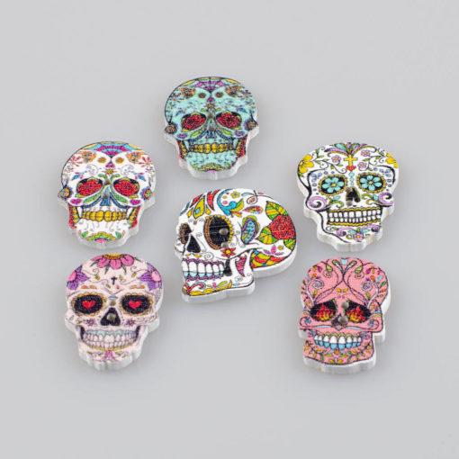 Guzik drewniany La Muerte, 2 wzory, 2 dziurki do przyszycia, kolor MIX