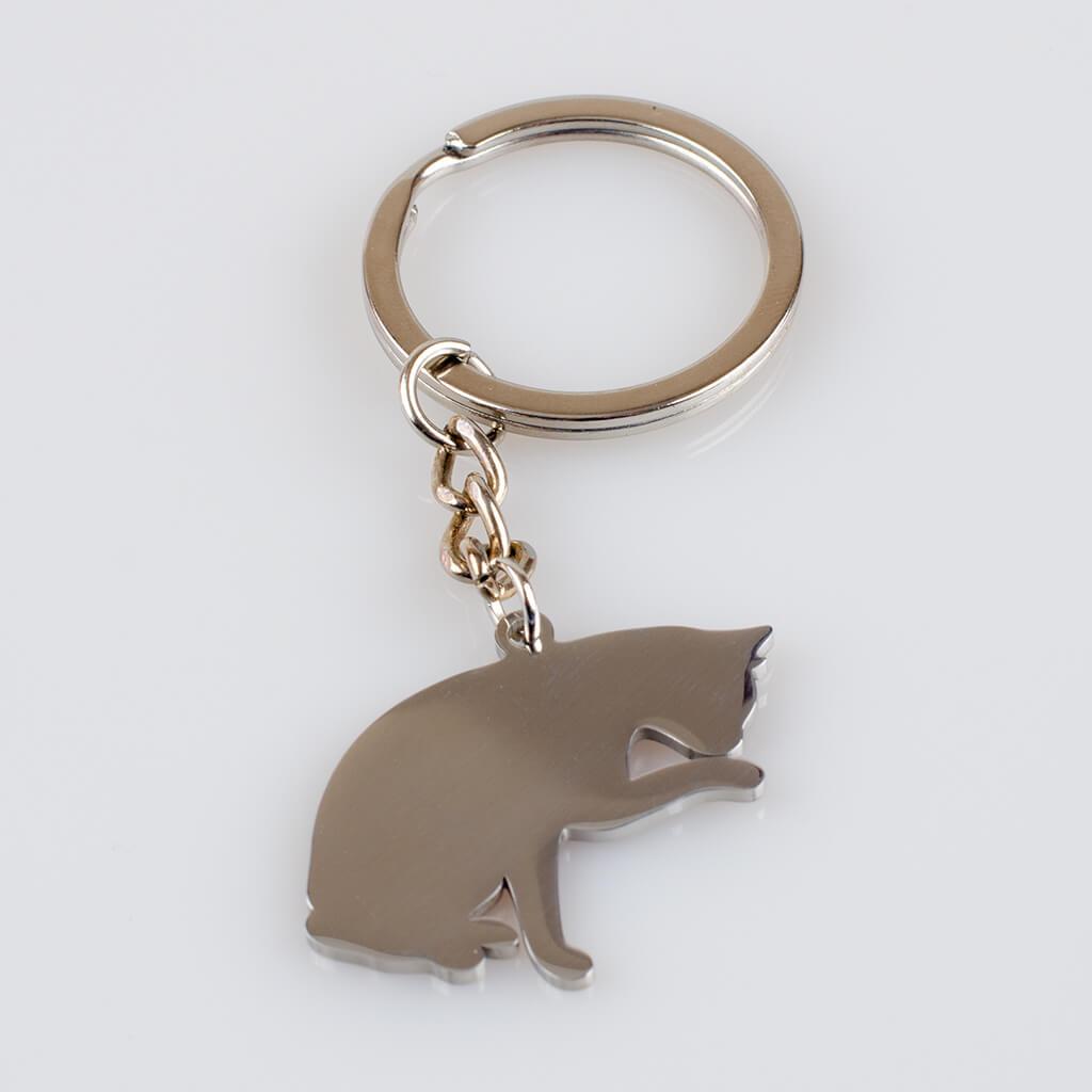 Brelok do kluczy z Kotem, metal 28mm x 30mm, kolor srebrny