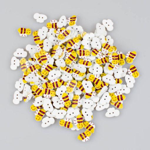Guzik drewniany Pszczółka, rozmiar 20x13mm, 2 dziurki, żółto-brązowe
