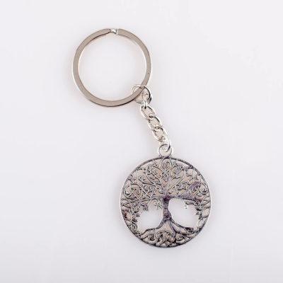 Brelok do kluczy Drzewo życia, metal, kolor srebrny, śr. 34 mm