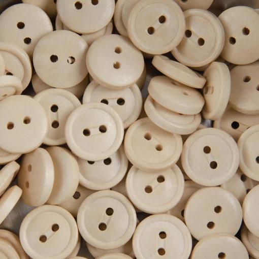 Guzik drewniany z rantem 2 mm, 2 dziurki, śr. 13 mm