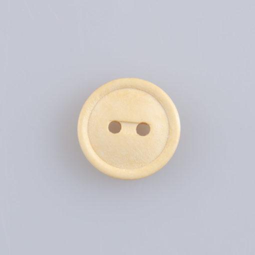 Guzik drewniany z rantem 2 mm, 2 dziurki, śr. 15 mm