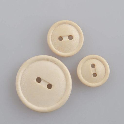 Guzik drewniany z rantem 2 mm, 2 dziurki, śr. 23, 15, 13 mm