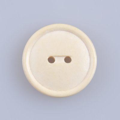 Guzik drewniany z rantem 2 mm, 2 dziurki, śr. 23 mm